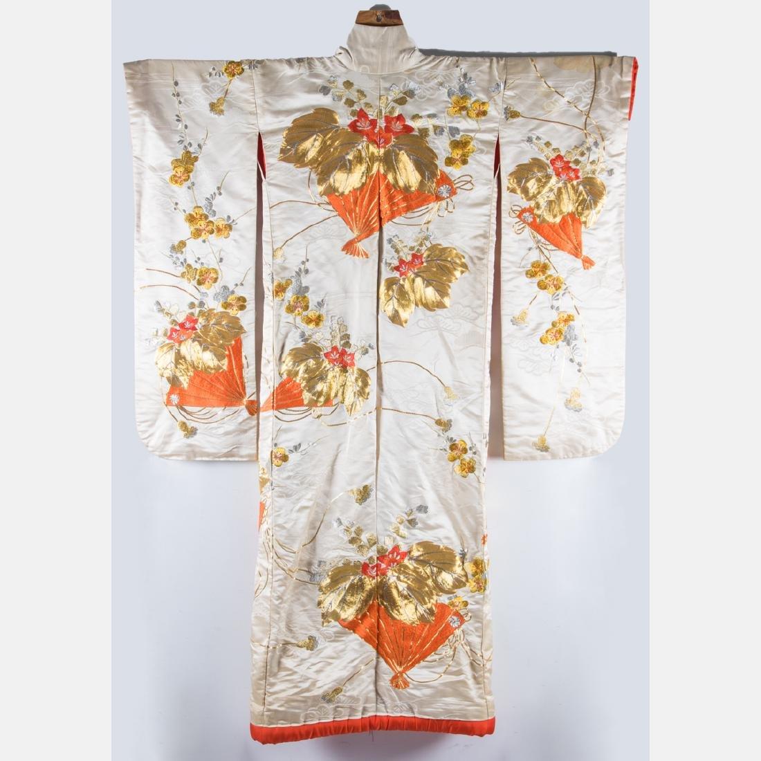 A Japanese Metallic and Silk Embroidered Kimono, 20th - 2