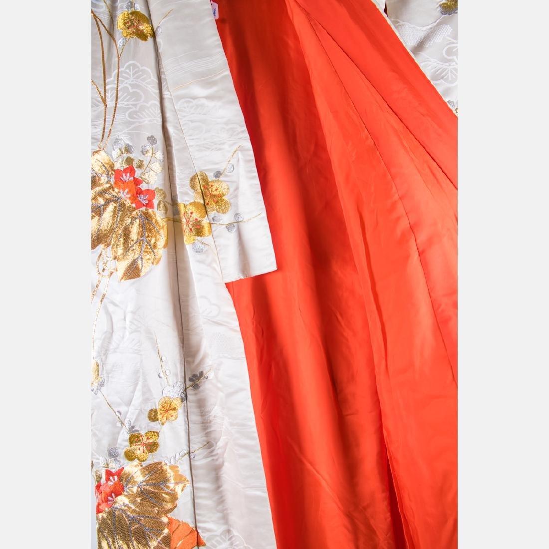 A Japanese Metallic and Silk Embroidered Kimono, 20th - 4