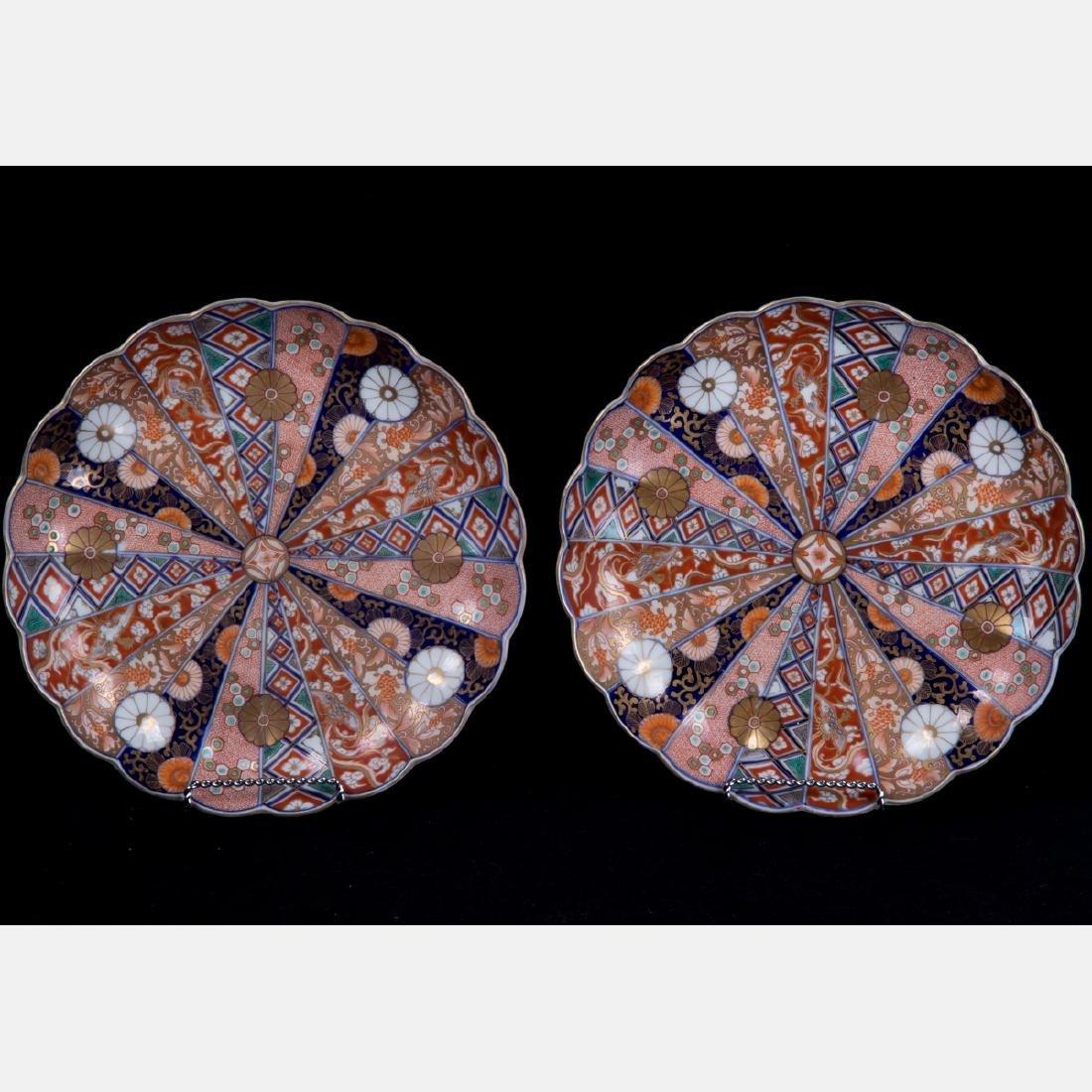A Pair of Japanese Imari Porcelain Plates, Meiji
