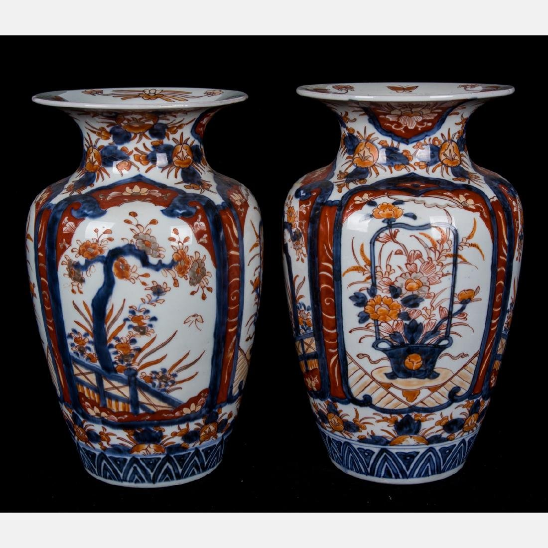 A Pair of Japanese Imari Porcelain Vases, 20th Century.