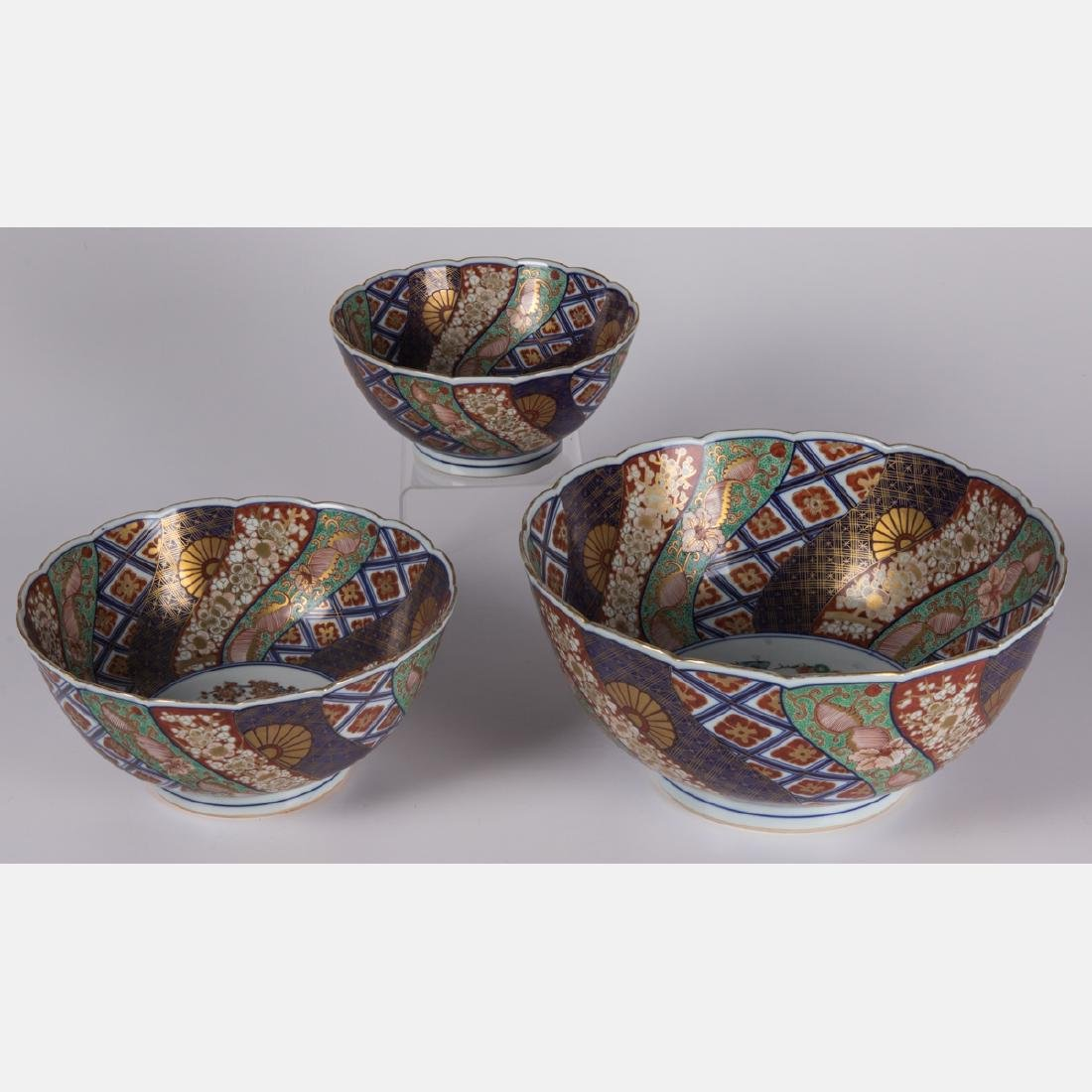A Collection of Three Japanese Imari Bowls, 20th