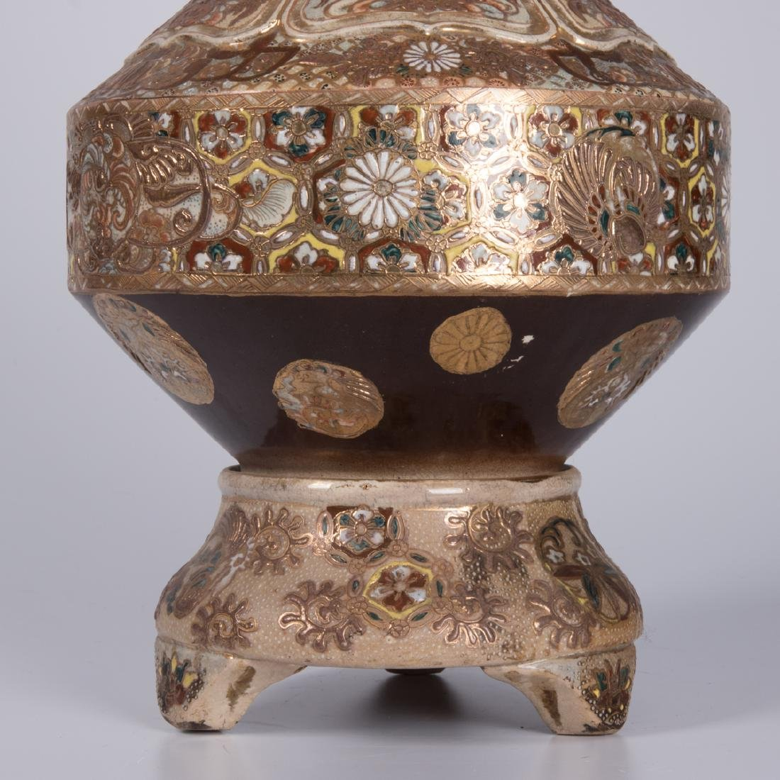 A Japanese Satsuma Porcelain Vase, 20th Century, - 3