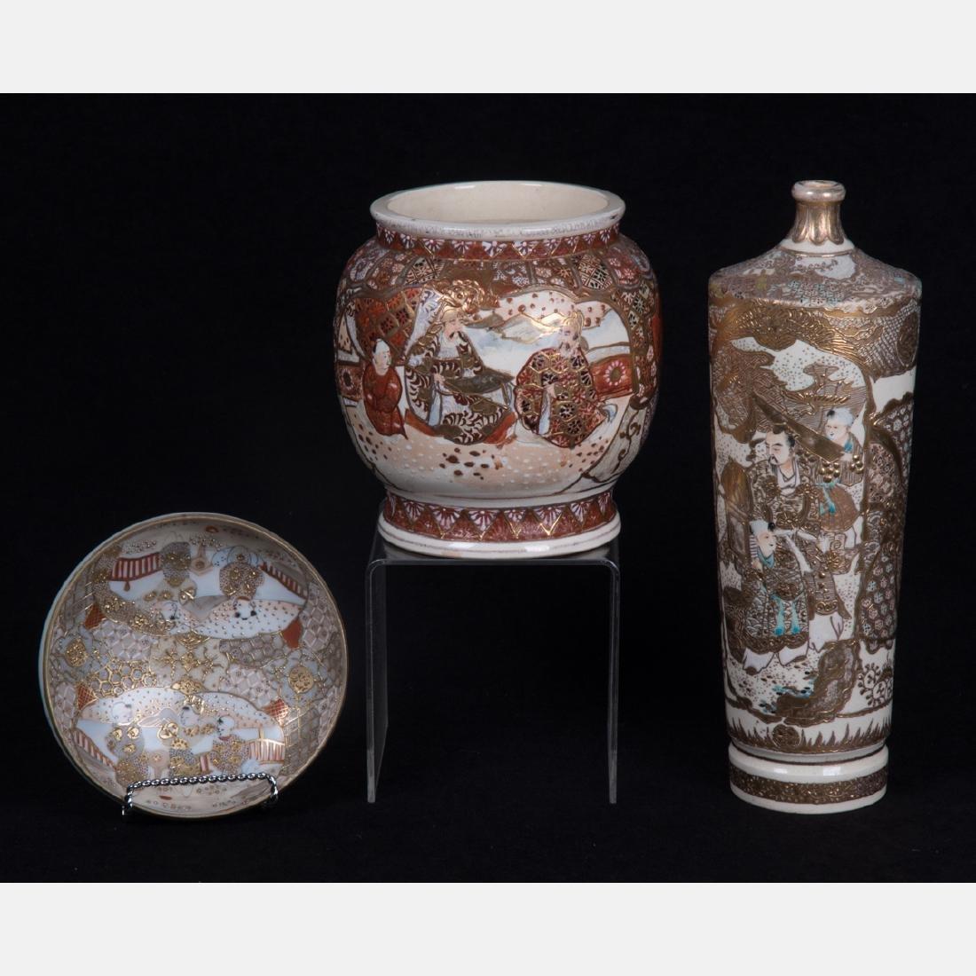 A Group of Three Japanese Satsuma Porcelain and