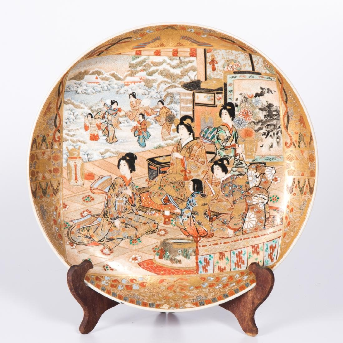 A Japanese Satsuma Porcelain Charger with Stand, 20th