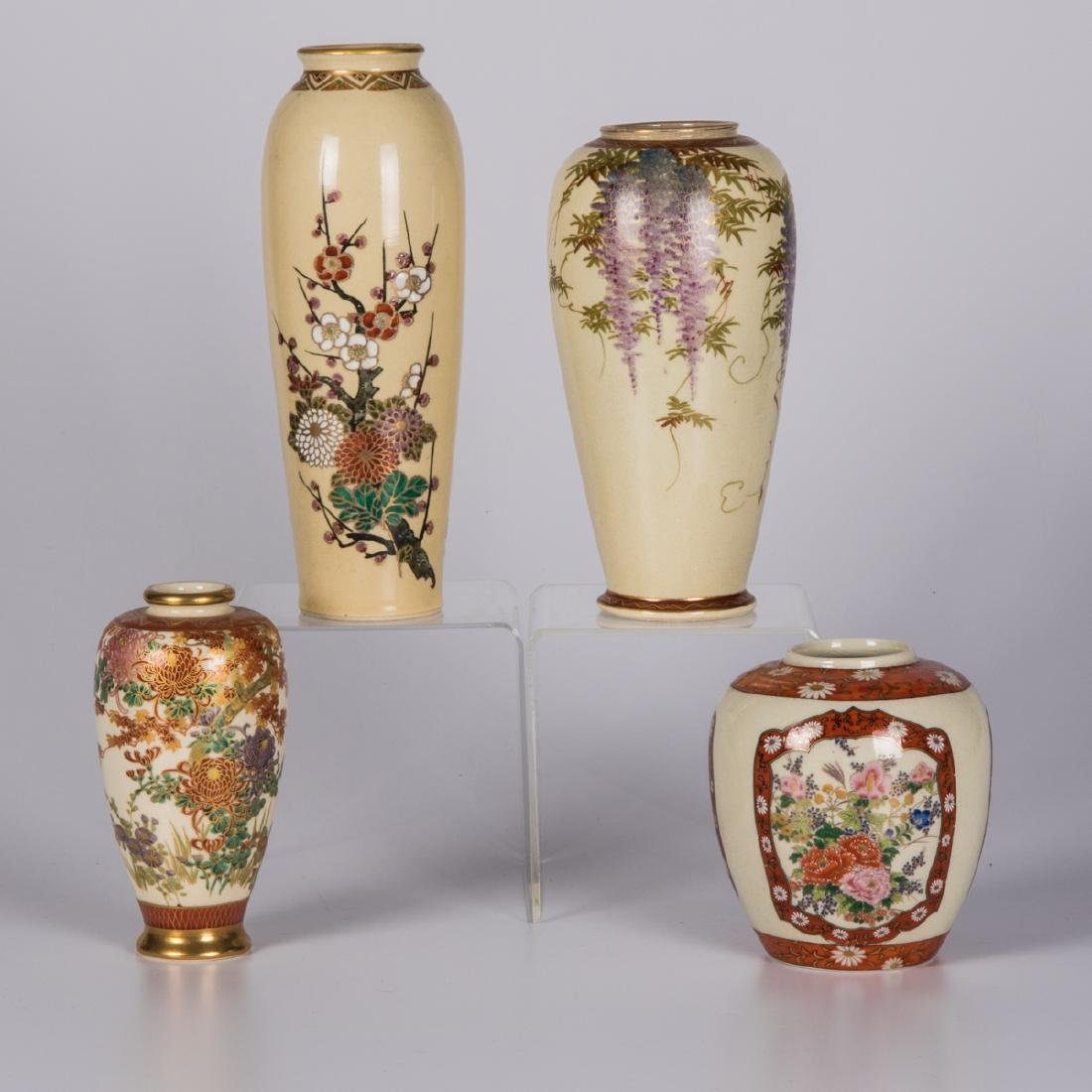 A Group of Four Japanese Satsuma Ceramic Vases, 20th