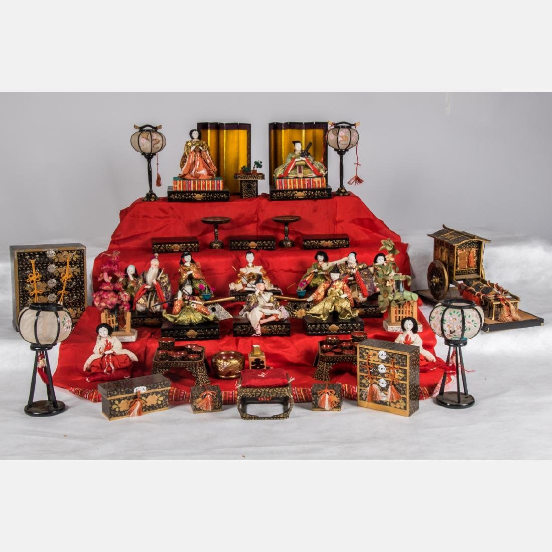 A Group of Japanese Composite Hina Dolls with Vignettes