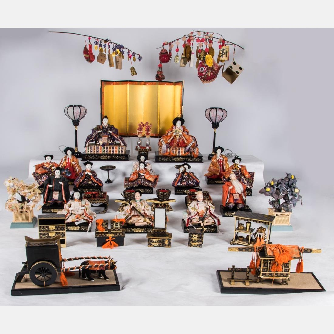 A Group of Japanese Composite Hina Dolls with