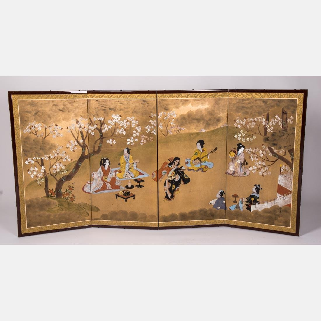 A Japanese Painted Four Panel Screen, 20th Century.