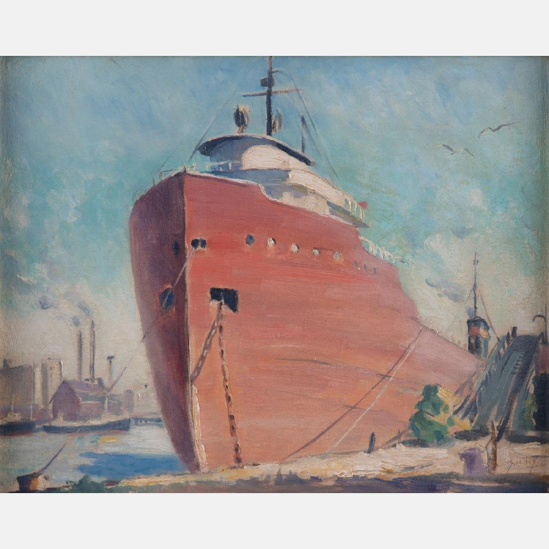 John F. Swalley (1887-1951) Docked Freighter, Oil on