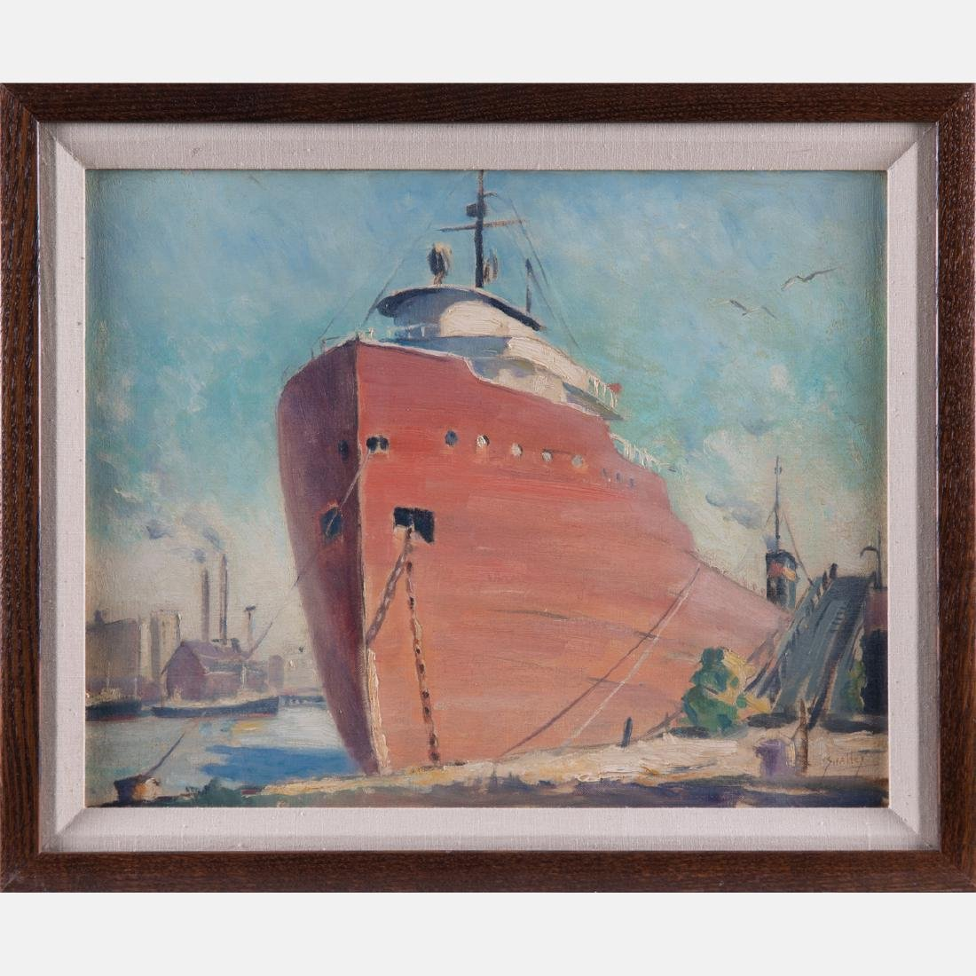 John F. Swalley (1887-1951) Docked Freighter, Oil on - 2