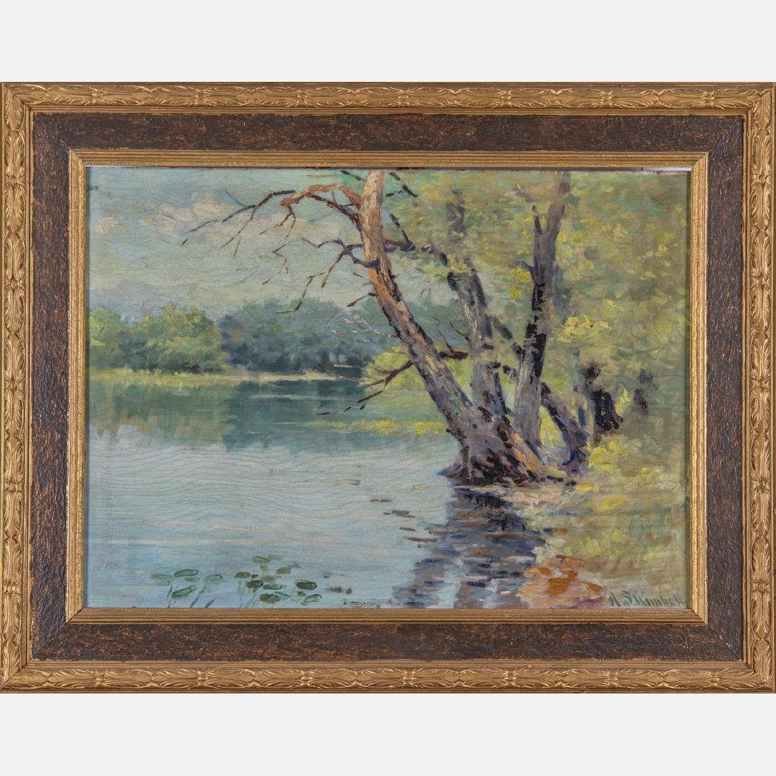 A. Shimball (20th Century) Forest River Scene, Oil on