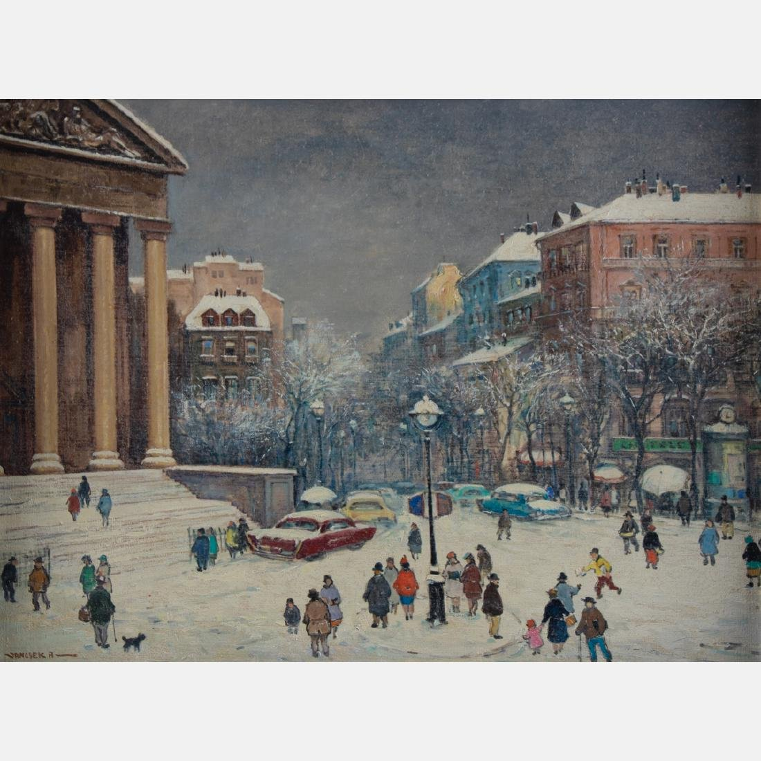 Antal Jancsek (1907-1985) Winter Paris Street Scene,