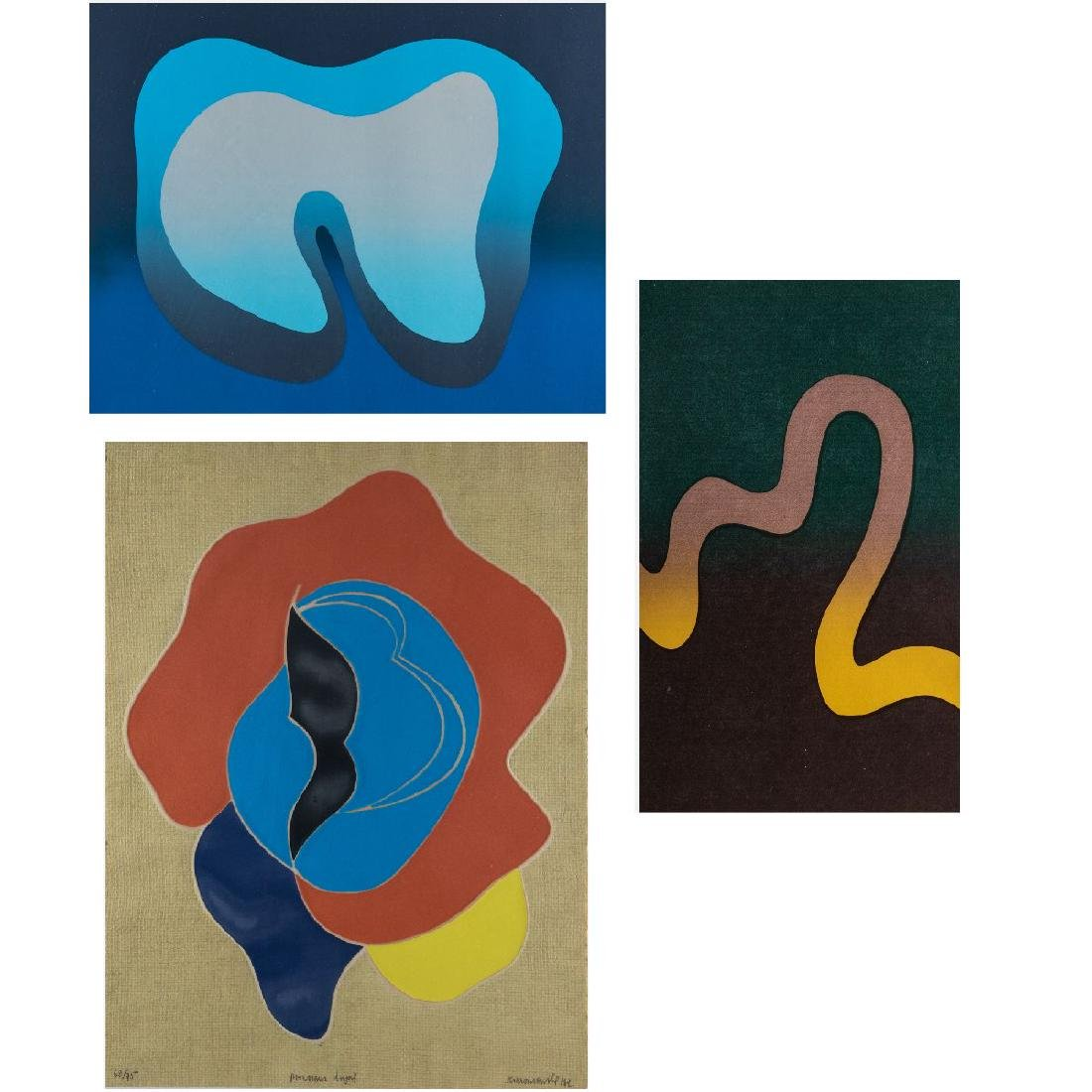 A Group of Three Framed Decorative Lithographs by