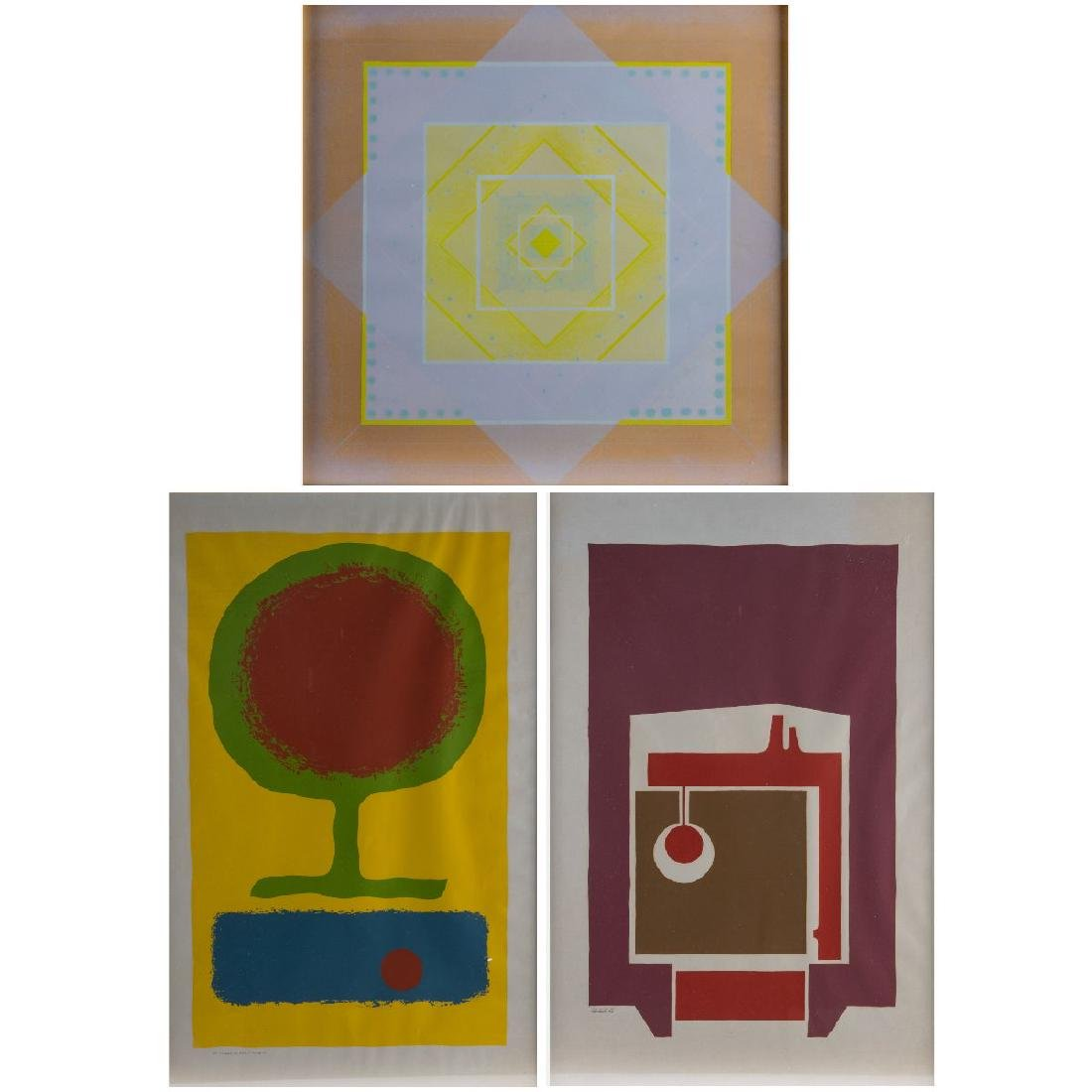 A Group of Three Framed Decorative Serigraphs and