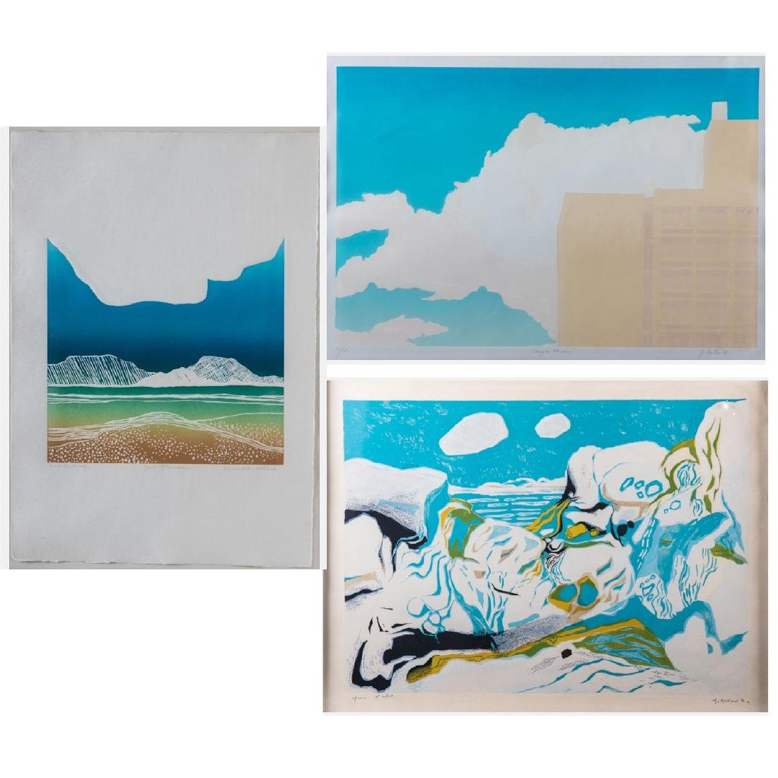 A Group of Three Colored Lithographs Depicting