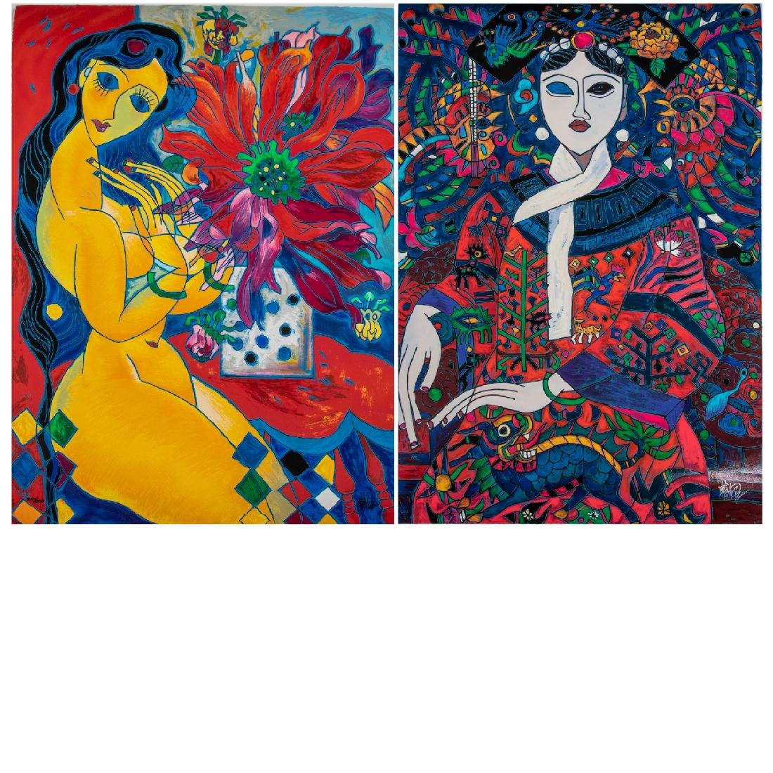 Jiang (20th Century) 'Beauty and Flowers' and 'The