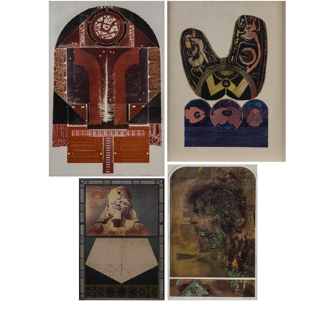 A Group of Four Framed Lithographs and Etchings by