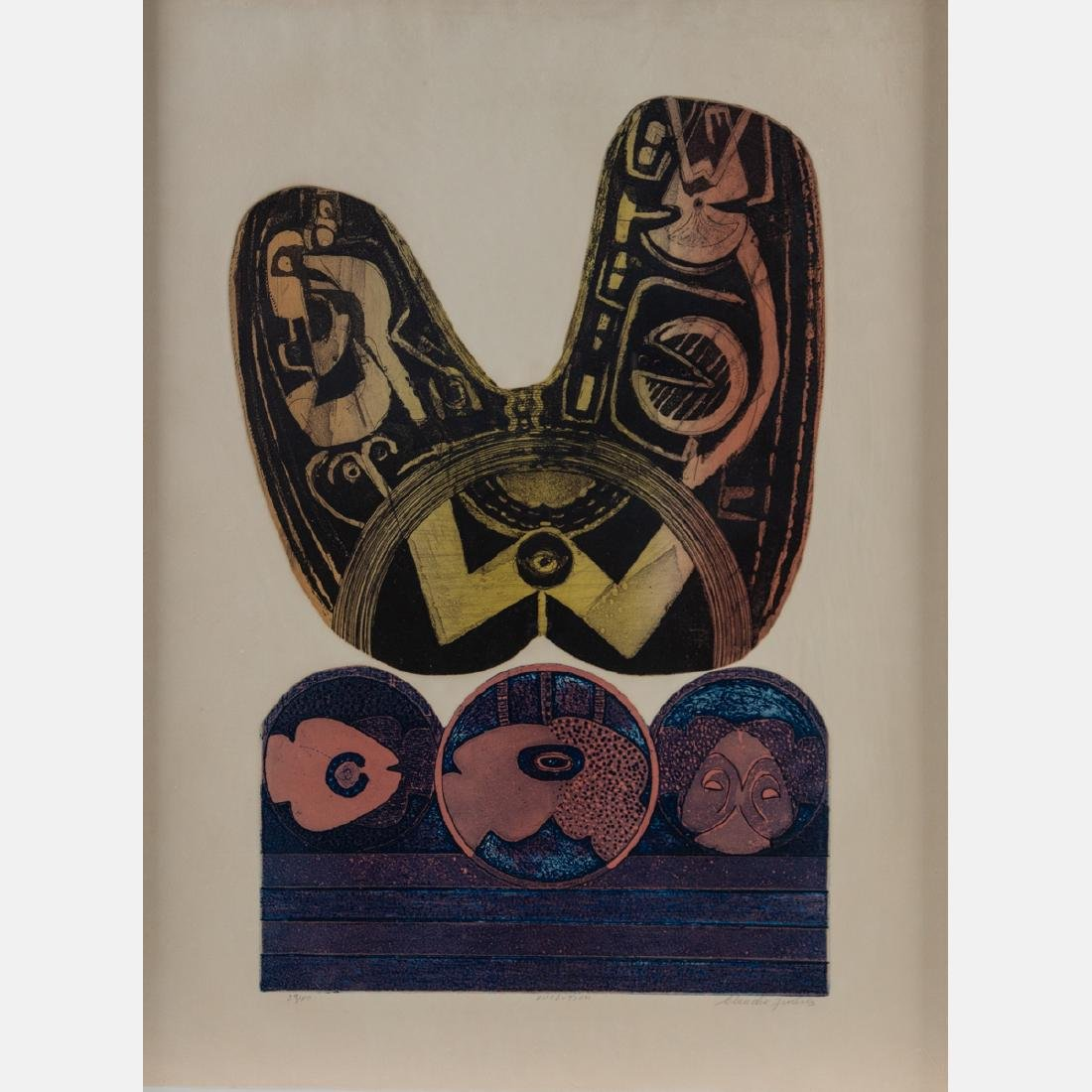 A Group of Four Framed Lithographs and Etchings by - 5