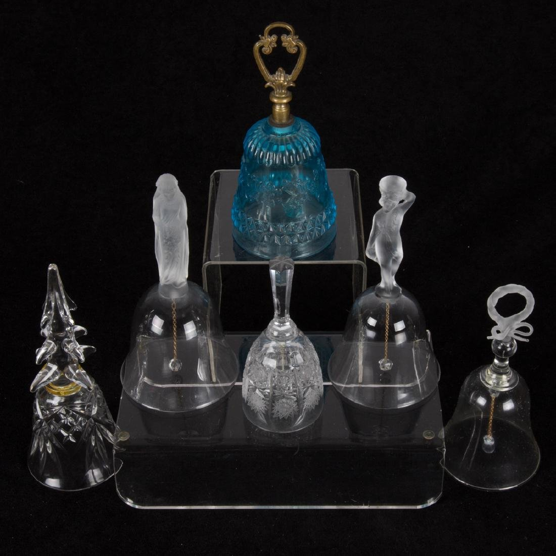 A Group of Six Frosted, Clear and Colored Glass Bells,