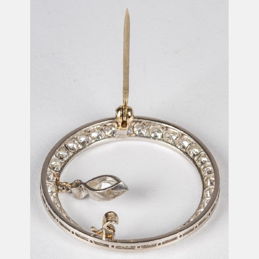 A 14kt. White Gold and Diamond Circular Brooch, - 3
