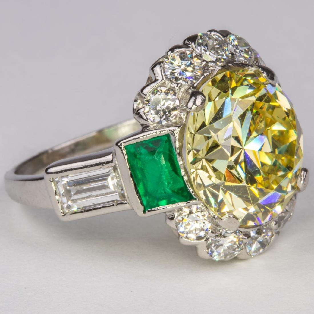 A Platinum, Diamond and Emerald Ring, - 4