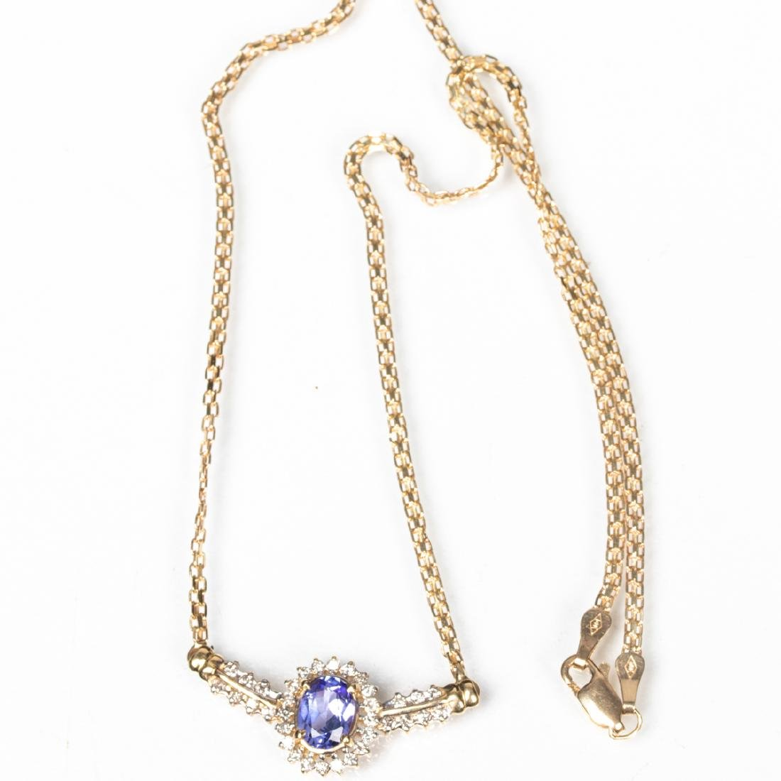 A 14kt Yellow Gold, Tanzanite and Diamond Necklace,