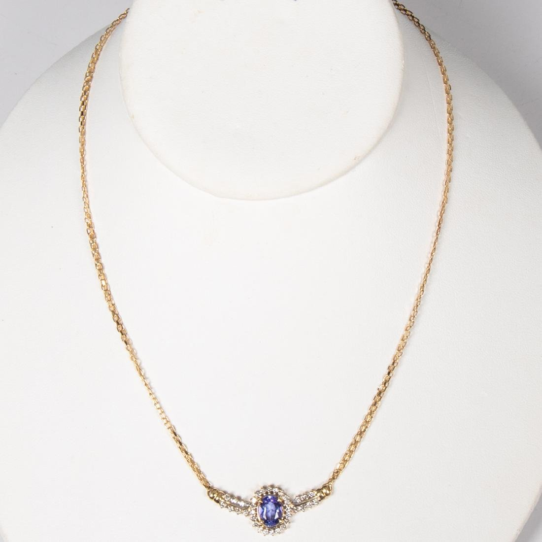 A 14kt Yellow Gold, Tanzanite and Diamond Necklace, - 2
