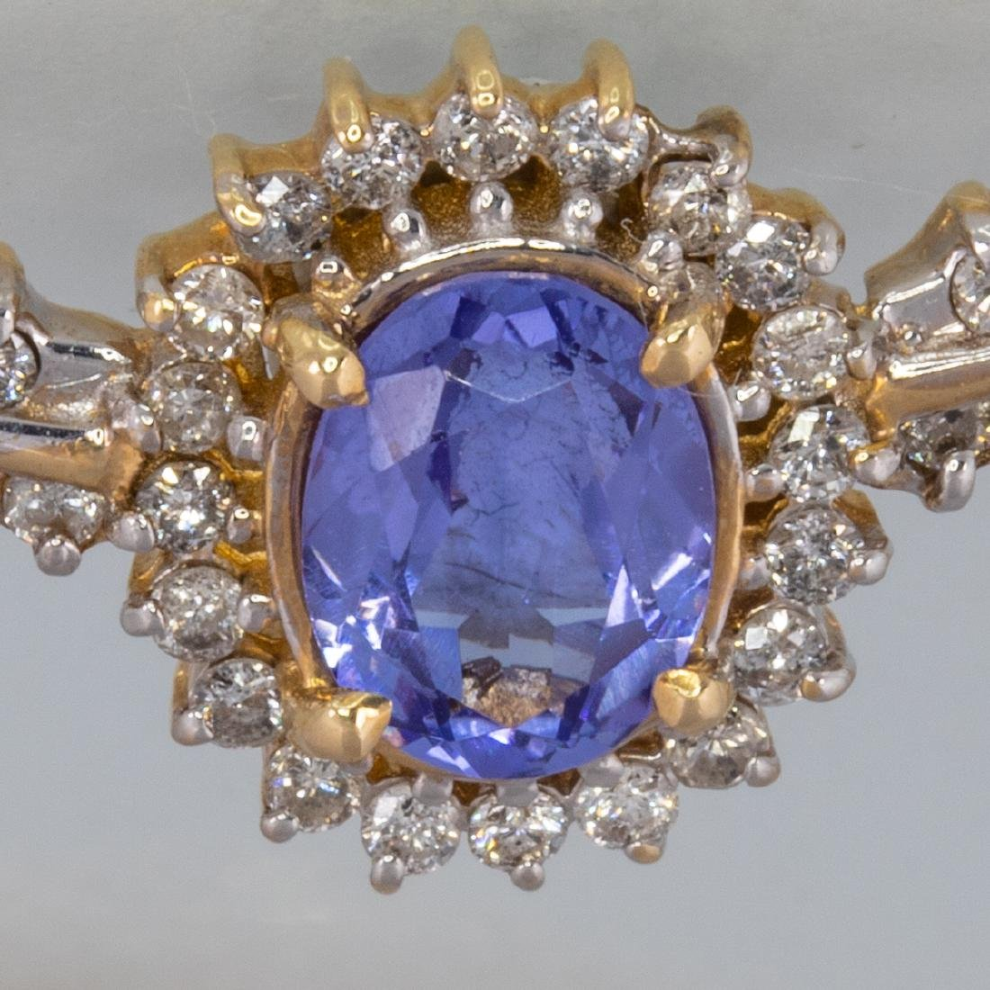 A 14kt Yellow Gold, Tanzanite and Diamond Necklace, - 3