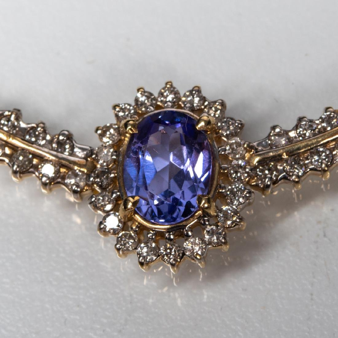 A 14kt Yellow Gold, Tanzanite and Diamond Necklace, - 4