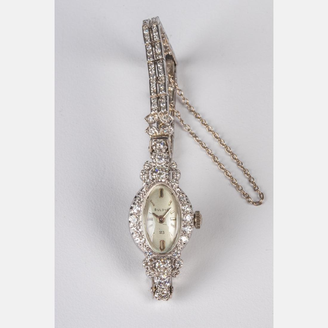 A 14kt. White Gold, Platinum and Diamond Ladies Bulova