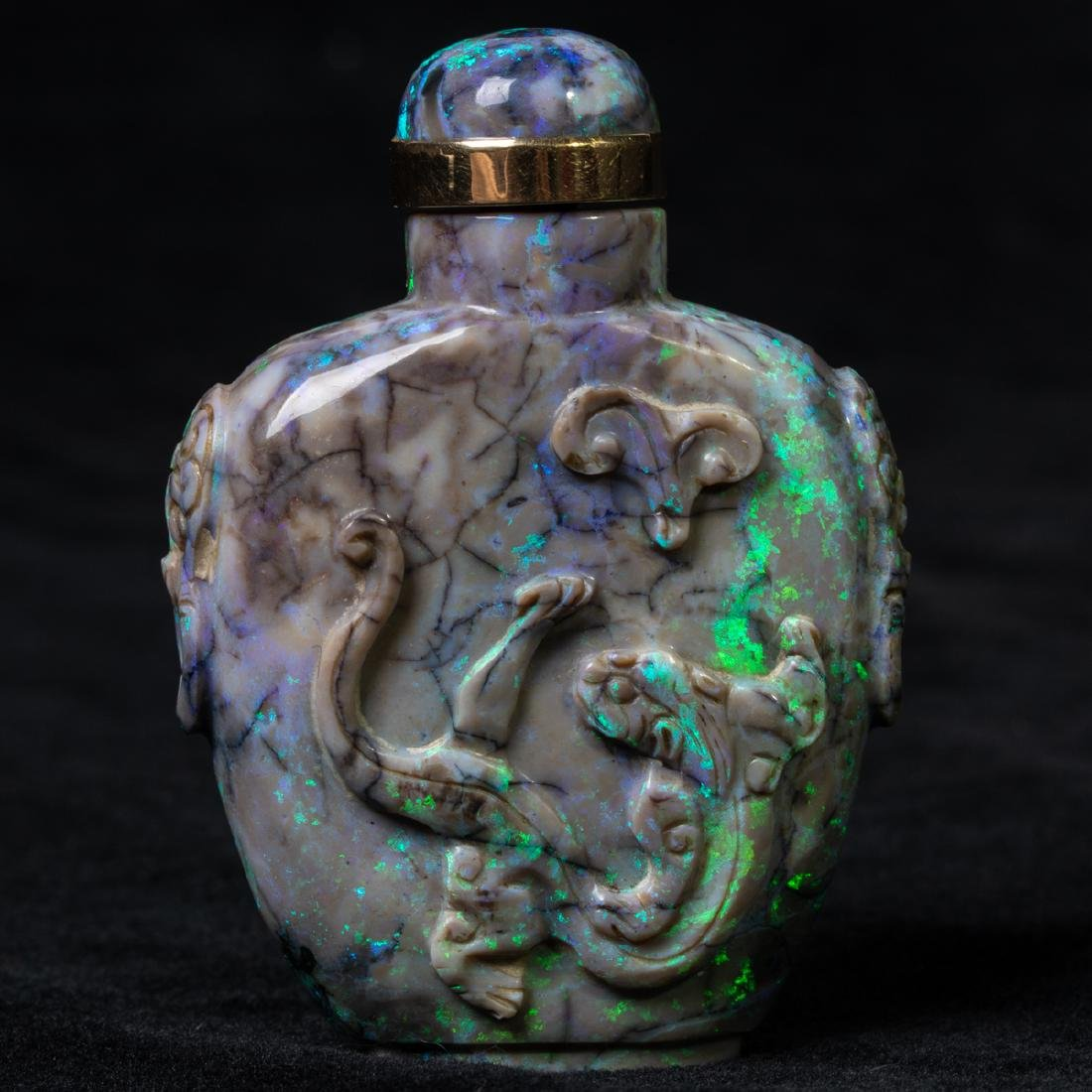 A Chinese Carved Black Opal Snuff Bottle, - 10