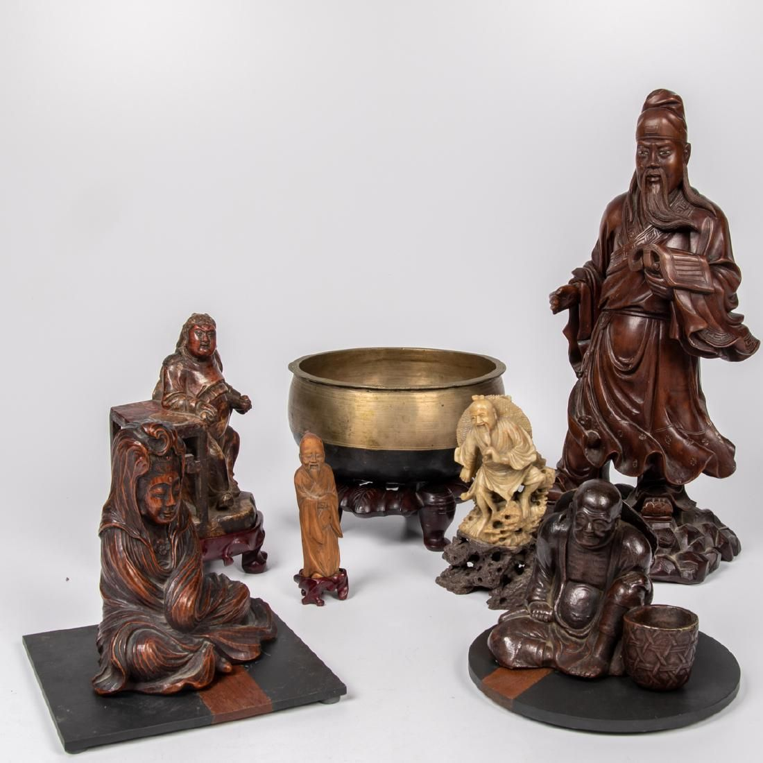 A Collection of Chinese Brass, Carved Wood and