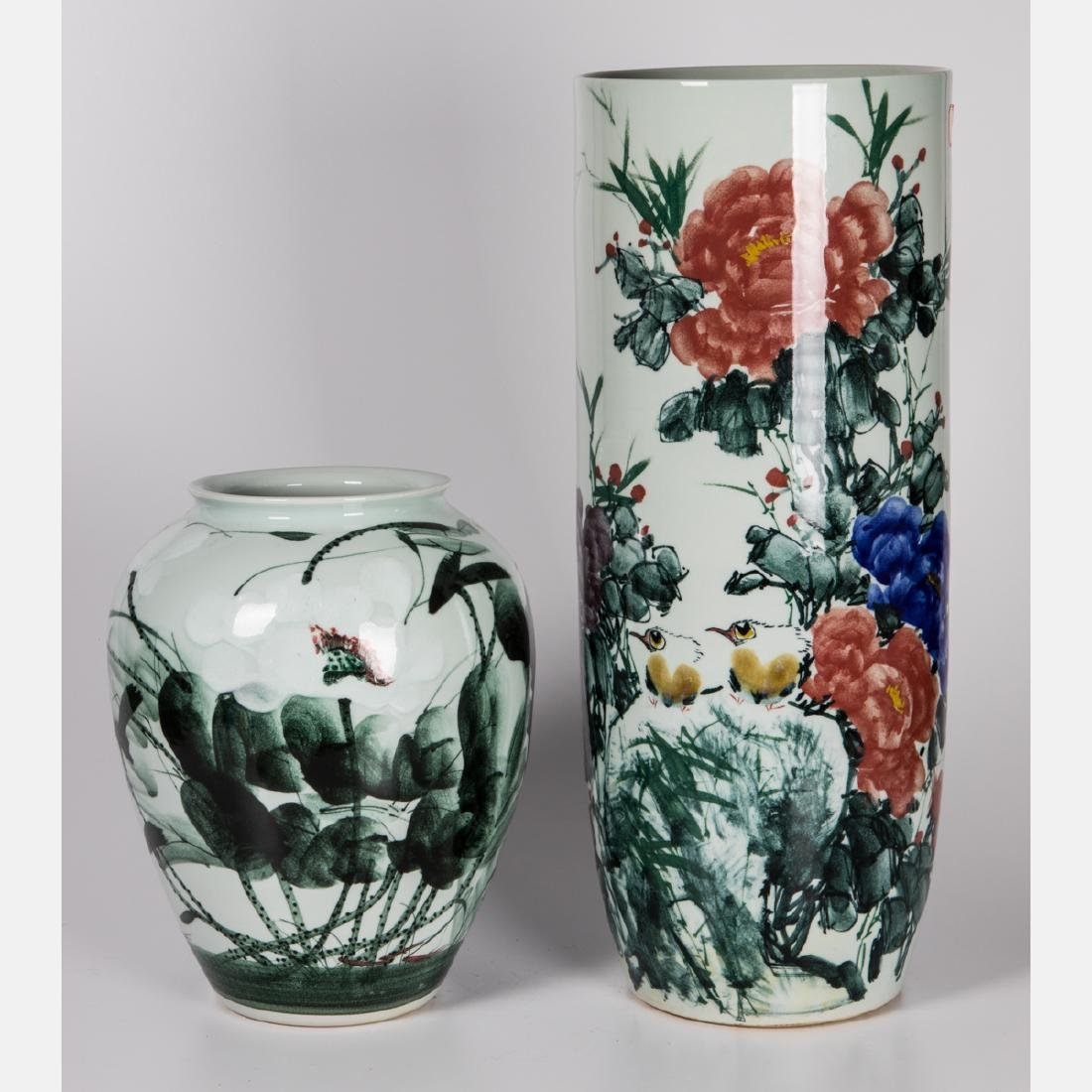 Two Chinese Porcelain Vases, 20th Century.