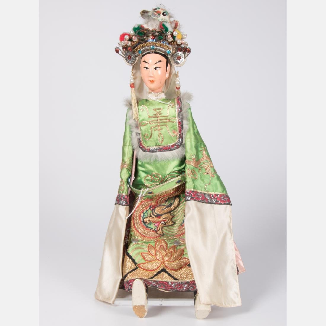 Two Chinese Painted Wood and Plaster Dolls, 20th - 9