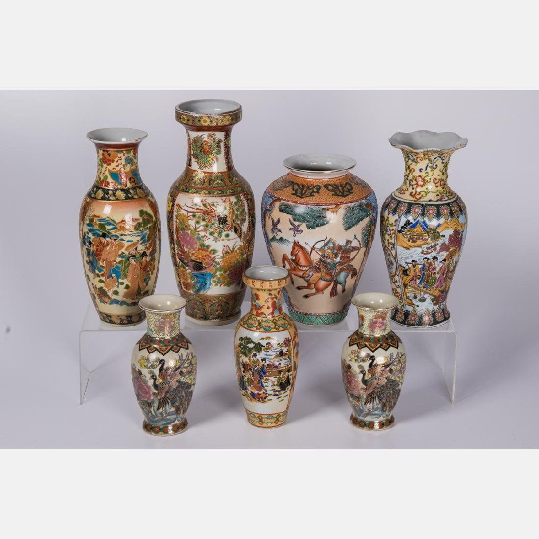 A Group of Seven Japanese Porcelain Vases, 20th