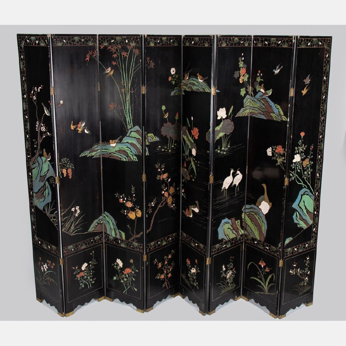 A Chinese Carved Lacquered and Gilt Painted Eight Panel - 2