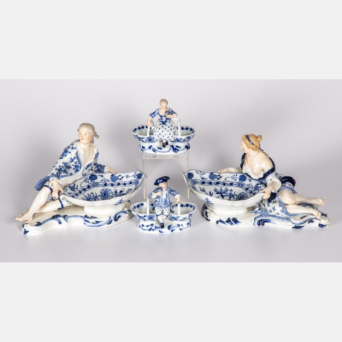 A Pair of Meissen Porcelain Figural Meat Dishes in the