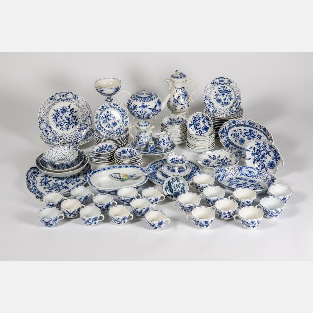 A Meissen Porcelain Dinner Service in the Blue Onion