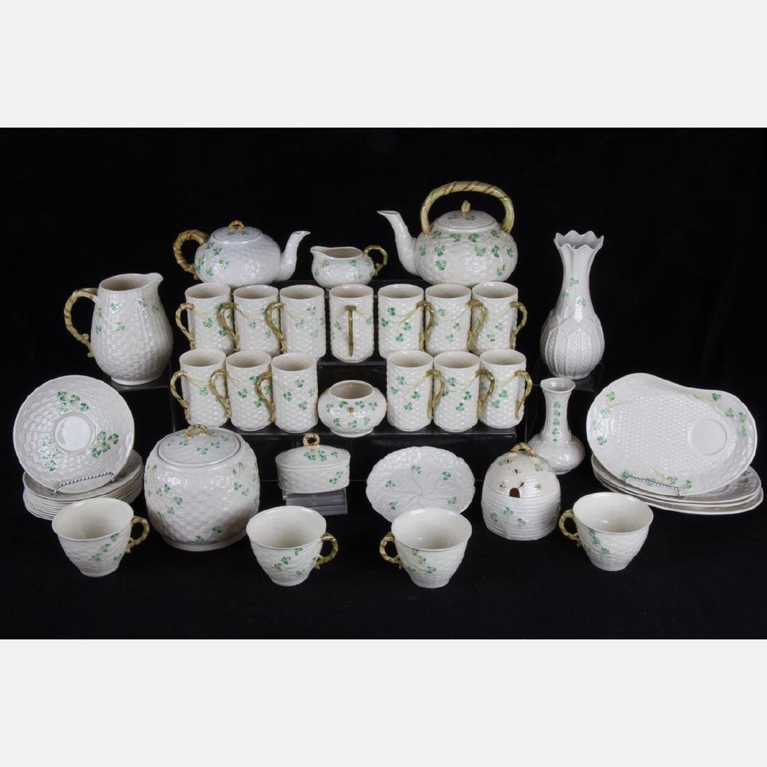A Collection of Belleek Porcelain Serving and