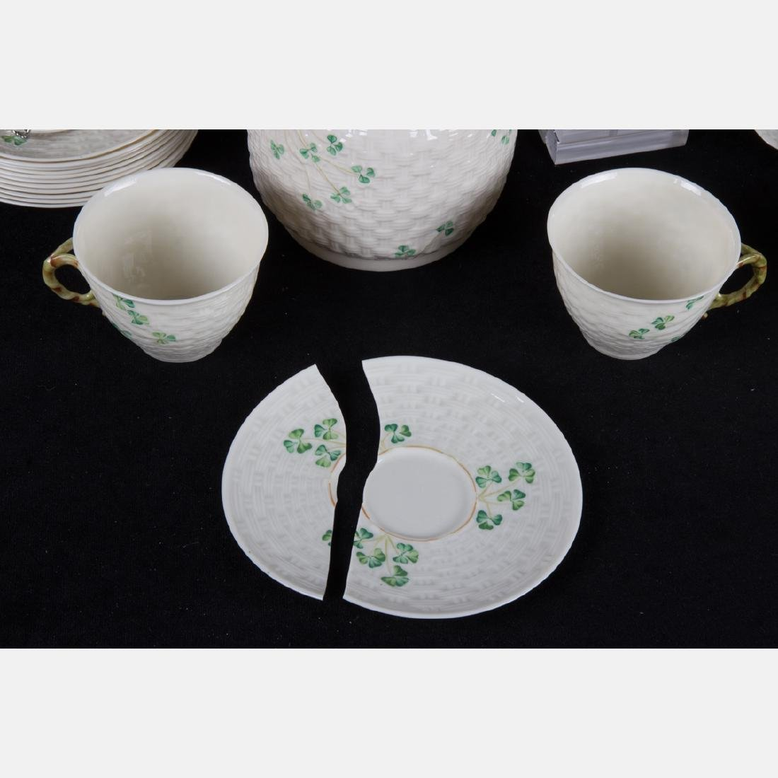 A Collection of Belleek Porcelain Serving and - 3