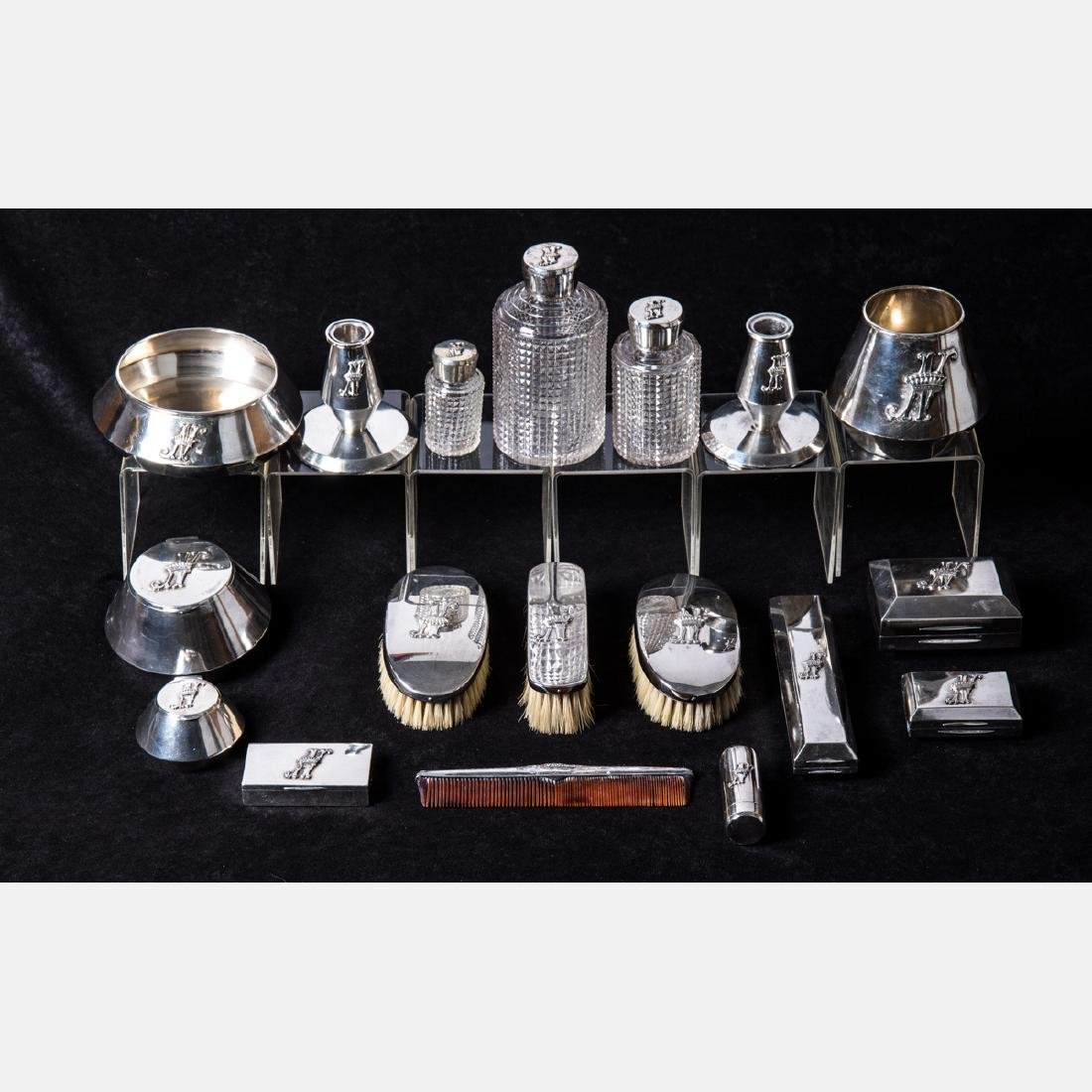A Russian Silver and Cut Glass Eighteen Piece - 2