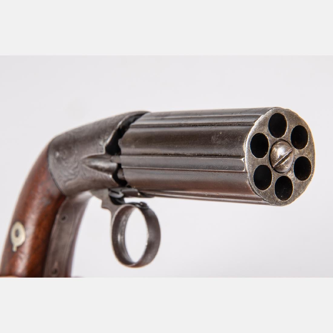 An Antique Six Shot Percussion Pepperbox Revolver, 19th - 10