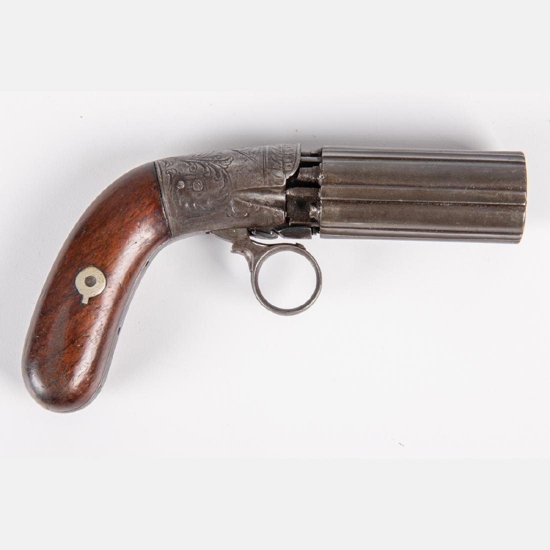 An Antique Six Shot Percussion Pepperbox Revolver, 19th