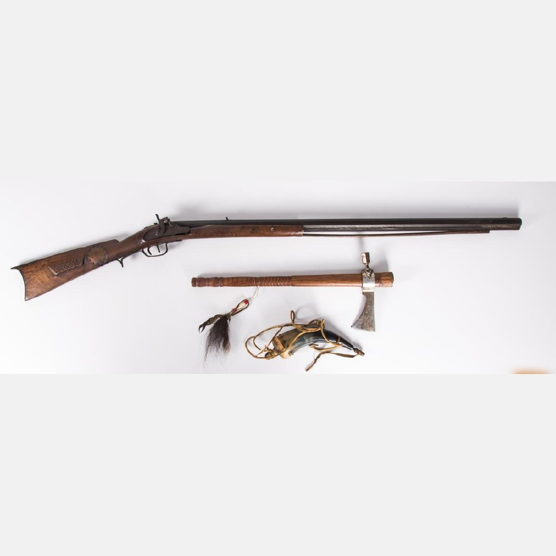 A Brass and Wood Percussion Musket Rifle, 19th Century,