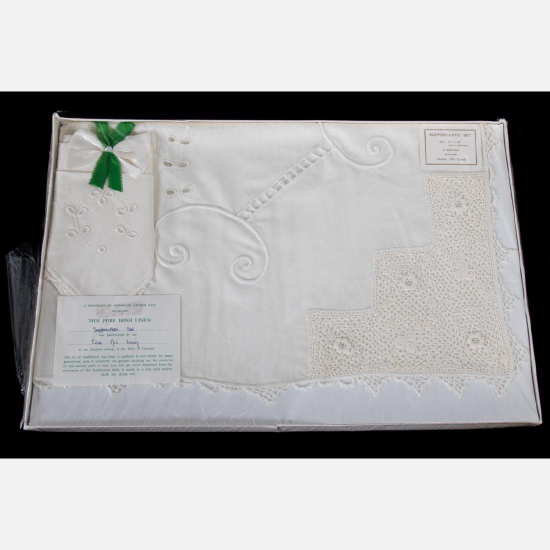 A Set of Irish Hand Woven Donegal Linen Table Cloth and