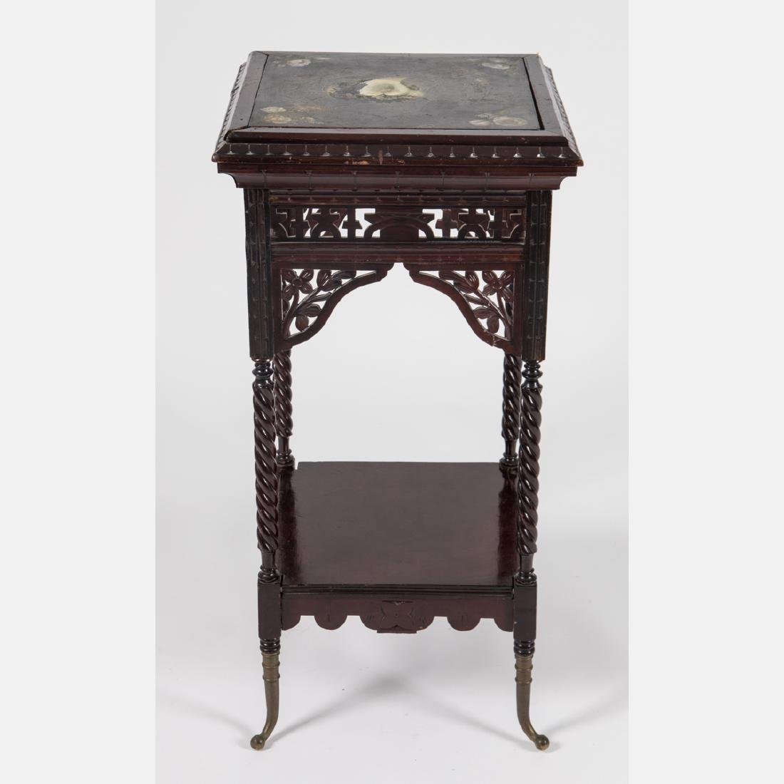 A Victorian Carved and Stained Hardwood Side Table,