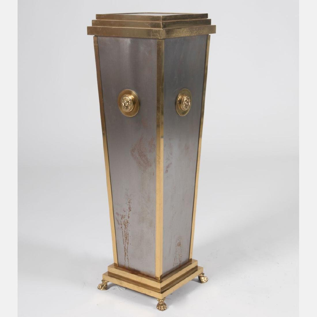 A Regency Style Brass and Steel Plated Pedestal, 20th