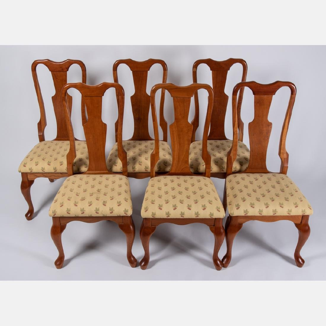 A Set of Six Amish Made Queen Anne Style Cherry Side