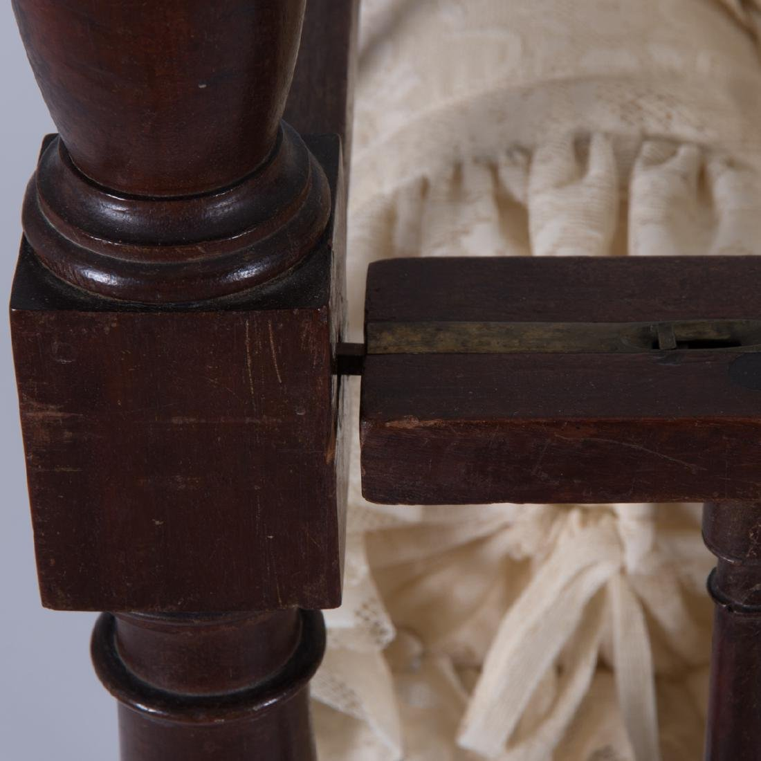 A Victorian Mahogany Doll's Cradle with Canopy, 19th - 2