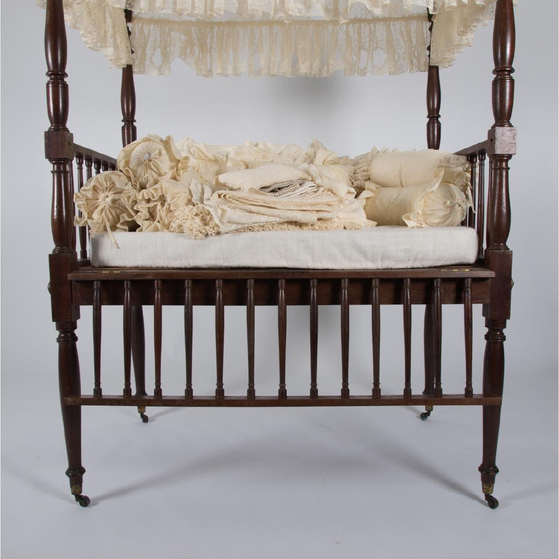 A Victorian Mahogany Doll's Cradle with Canopy, 19th - 4